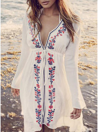 Cute Floral Long Sleeve V-neck Cover-ups Swimsuit