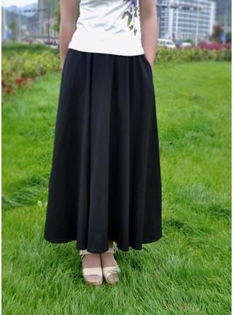 Algodón Lino Color sólido Maxi Faldas Plisadas