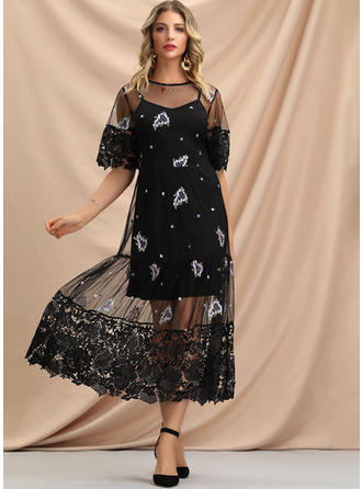 Lace/Embroidery/Floral 1/2 Sleeves A-line Midi Casual/Elegant Dresses