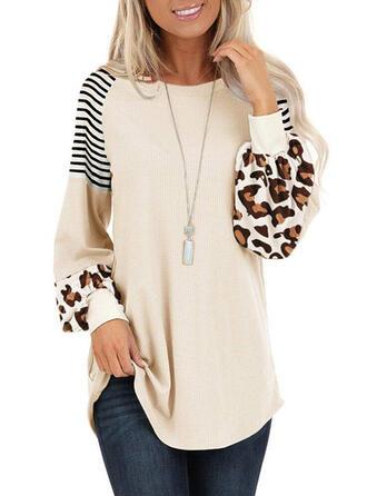 Stribe Leopard rund hals Lange ærmer Sweatshirts