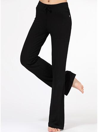 Color sólido Cintura Alta Pantalones deportivos