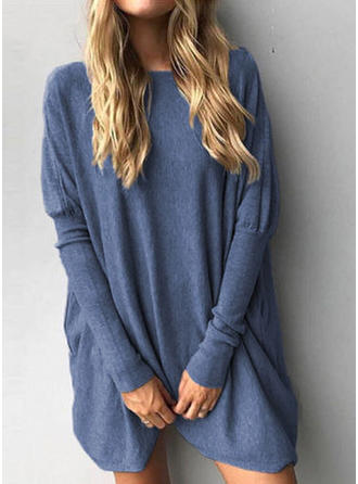 Polyester Col rond Couleur unie Robe Pull