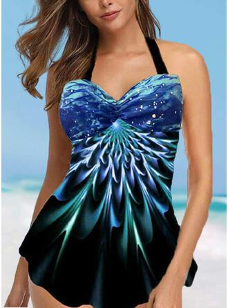 Print Halter Sexy Bohemian Swimdresses Swimsuits