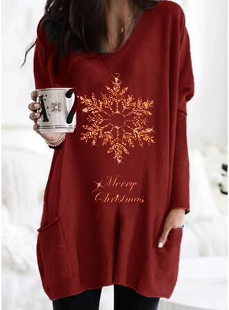 Print Figur Lommer rund hals Lange ærmer Jule sweatshirt