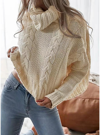 Cotton Turtleneck Plain Cable-knit chunky knit Sweater