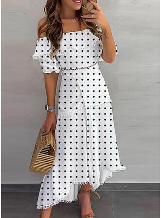 Lace/PolkaDot 1/2 Sleeves A-line Casual/Vacation Midi Dresses