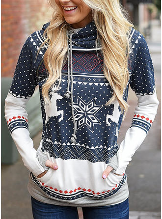 Women's Cotton Blends Print Reindeer Christmas Sweatshirt