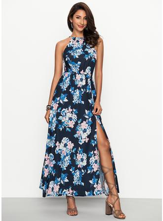 Bohemian Floral Halter Maxi Shift Dress