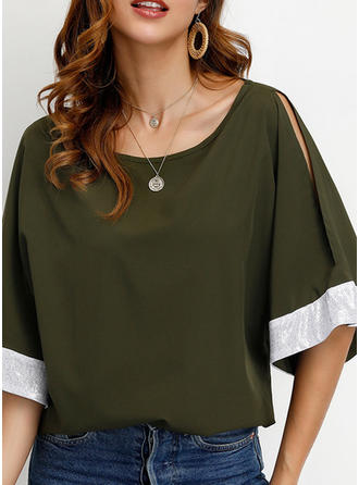 Solid Round Neck 1/2 Sleeves Casual T-shirts (1003264739)