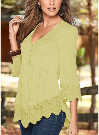 Solid Lace Round Neck 3/4 Sleeves Casual T-shirt