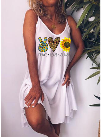 Print/Sunflower Print Sleeveless Shift Above Knee Casual/Vacation Dresses