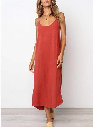 Solid Sleeveless Shift Midi/Maxi Casual/Vacation Dresses
