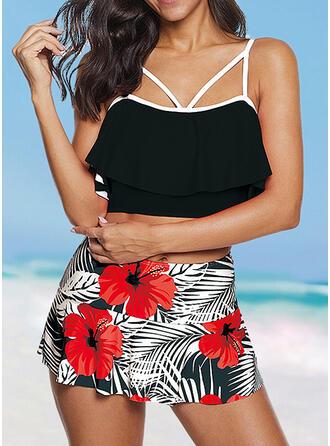 Floral High Waist Print Strap Sexy Plus Size Bikinis Swimsuits