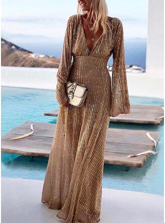 Sequins/Solid Long Sleeves A-line Maxi Party Dresses