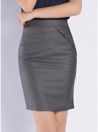 Polyester Solid Color Over Knee Bodycon Nederdele
