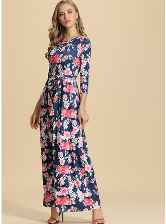 Druck/Blumen 3/4 Ärmel A-Linien Maxi Freizeit/Elegant Kleider