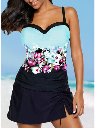 Floral Print Strap Fresh Swimdresses Swimsuits