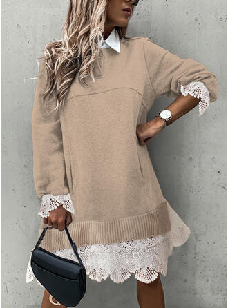Lace Lapel Casual Long Sweater Dress