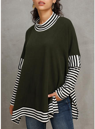 Polyester Color Block Striped Sweatshirt