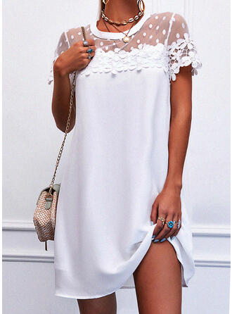 Lace/Solid Short Sleeves Shift Above Knee Elegant Dresses