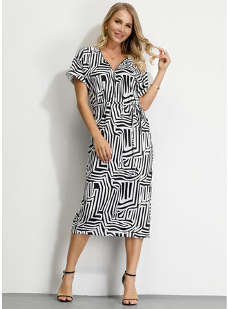Geometric Print Short Sleeves A-line Midi Casual Dresses