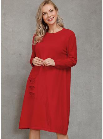 Einfarbig Taschen Rundhalsausschnitt Pulloverkleid