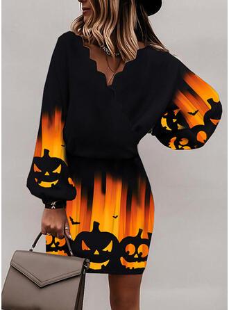 Halloween Print/Animal Lange ærmer Bat ærme. Bodycon Over knæet Party Kjoler