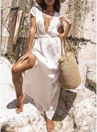 Cor Sólida Decote em V Sexy Na moda Bonito Túnicas Maiôs