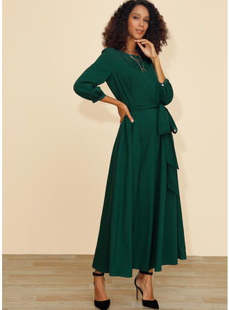 Solid Long Sleeves A-line Midi Casual Dresses