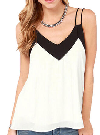Color Block Patchwork Spaghetti Strap Sleeveless Casual Tank Tops