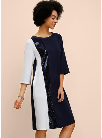 Paillettes/Couleur De Bloc Manches 3/4 Droite Longueur Genou Décontractée Robes