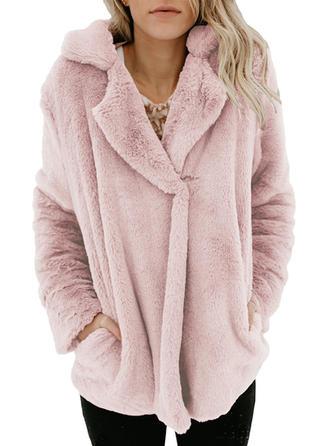 Woolen Long Sleeves Plain Blend Coats
