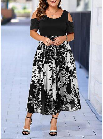 Print/Floral Short Sleeves/Cold Shoulder Sleeve A-line Casual/Elegant/Plus Size Midi Dresses