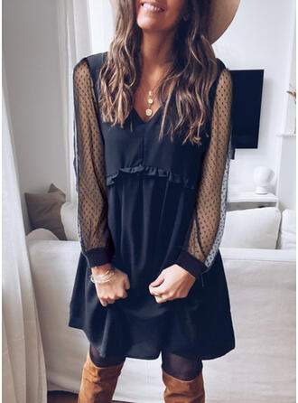 Lace/Solid Long Sleeves Shift Knee Length Little Black/Casual Tunic Dresses
