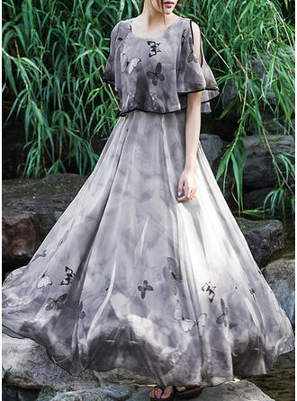 Bohemian Round Neck Maxi A-line Dress