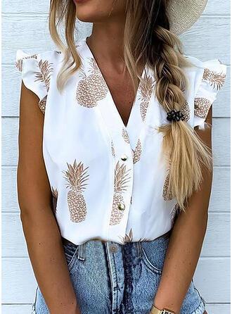 Drucken V-Ausschnitt Flügelärmel Mit Knöpfen Freizeit Hemdblusen