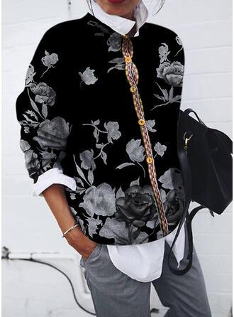 Tisk Květiny Kulatý Výstřih Dlouhé rukávy Mikina