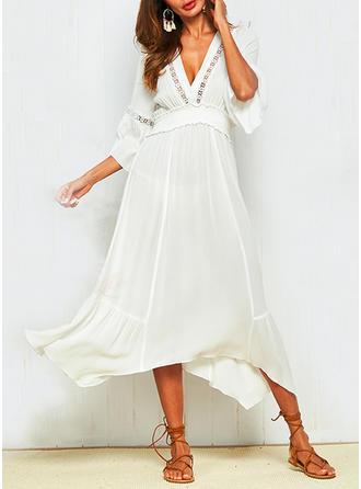 Hollow V-neck Midi A-line Dress
