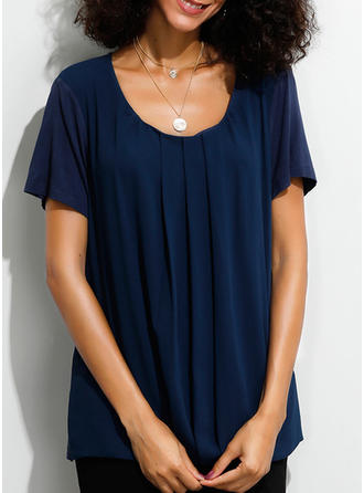 Solid Round Neck Short Sleeves Casual Shirt Blouses T-shirts