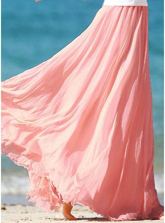 Polyester Couleur unie Maxi Jupes trapèze