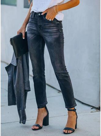 Shirred Bijgesneden Elegant Sexy Spijkerbroek