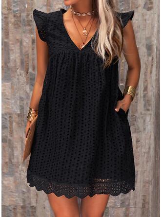 Print Cap Sleeve Shift Above Knee Little Black/Casual Tunic Dresses