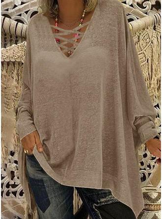 Solid V-neck Batwing Sleeve Long Sleeves Casual Sexy Knit T-shirts