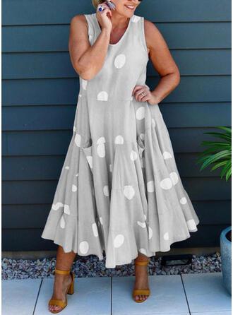 Print/PolkaDot Sleeveless Shift Casual Midi Dresses