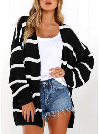Knitting Long Sleeves Striped Wide-Waisted Coats