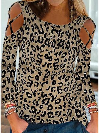 leopardo Spalle esposte Maniche lunghe Magliette