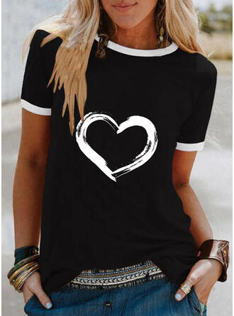 Corazón Impresión Cuello Redondo Manga Corta Camisetas