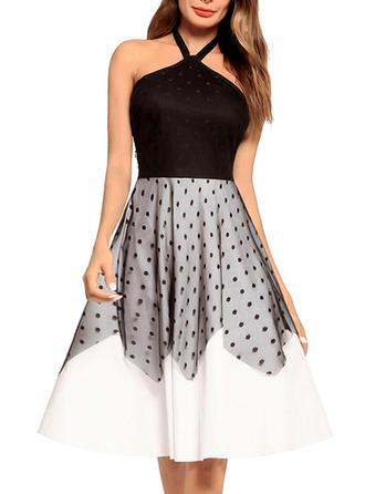 Lace Halter Knee Length A-line Dress