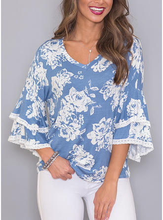 Polyester Spandex V Neck Floral 3/4 Sleeves Casual Blouses