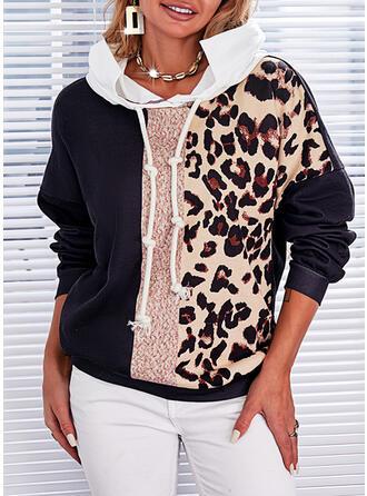 Impresión Trozos de color Leopardo Capucha Manga Larga Sudadera Con Capucha